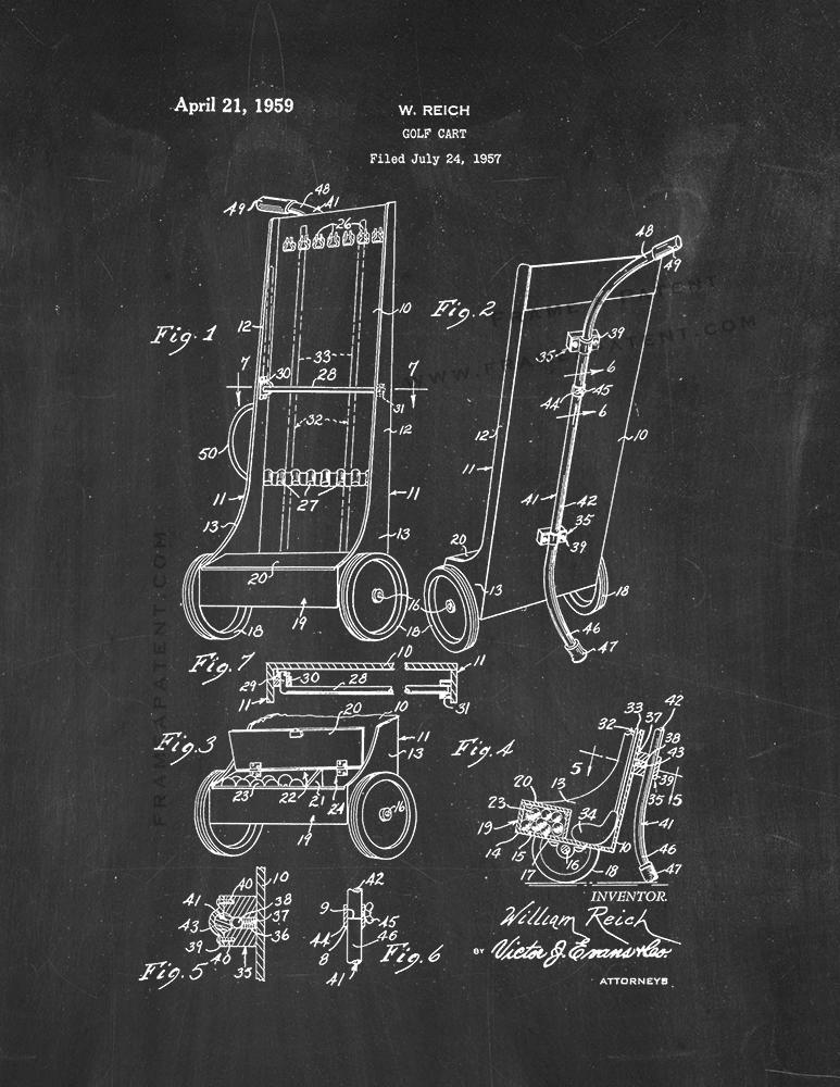 Golf Cart Patent Print - Chalkboard for sale  USA