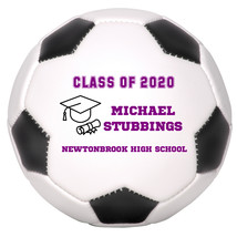 Personalized Custom Class of 2020 Graduation Mini Soccer Ball Gift Purple Text - $34.95