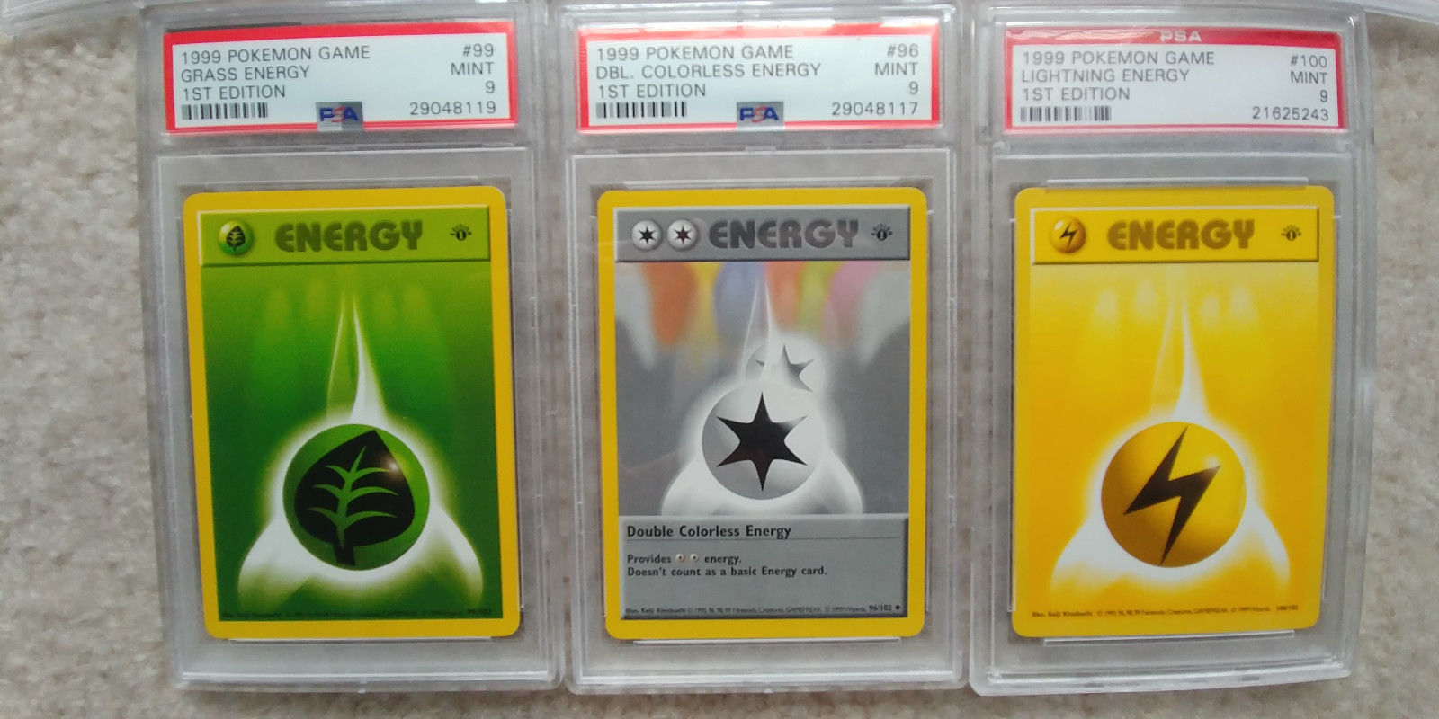 Pokemon 1st Edition Base Set PSA 9 Energy Complete Set of 7 1999 Game Shadowless