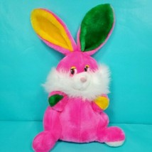 """Hot Pink Bunny Rabbit Plush Hand Puppet Vintage Easter 15"""" Full Body Sto... - $17.81"""