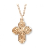 Women's Catholic 16K Gold Over Sterling Silver Four-Way Cross Medal Neck... - $64.99