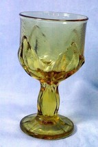 Yellow Glass With Tulip Pattern Water Goblet - $4.15