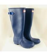 Hunter Womens Rain Boots Original Back Adjustable Rubber Navy Blue Size 7 - $96.74