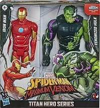 Marvel Titan Hero  SpiderMan Maximum Venom Iron Man vs Venomized Hulk 12... - $26.72
