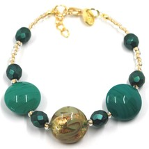 """BRACELET GREEN YELLOW MURANO DISC GLASS & GOLD LEAF, MADE IN ITALY, 20cm, 7.9"""" image 1"""