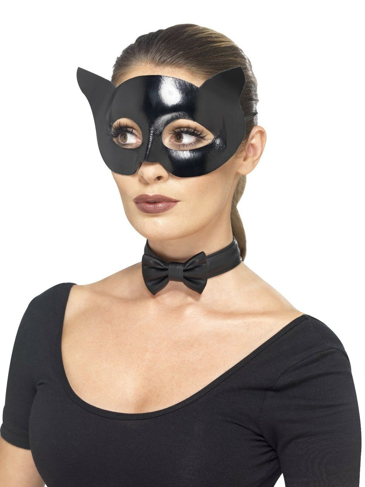 Adult Black Cat Mask and Collar Set Fancy Dress Book Day Costume Accessories Kit - $25.62