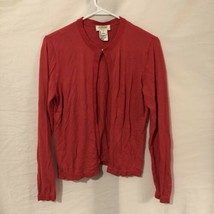 Talbots Womens Petite Small Sweater Cardigan Pink Long Sleeve Embroidere... - $11.98