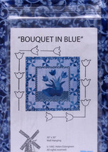 "30""x 30"" Bouquet in Blue Quilt Kit Dutch Shoe Tulips Flowers - Quilt Kit... - $39.97"