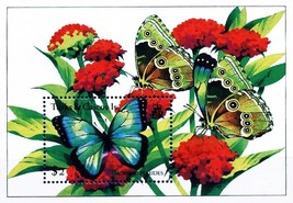 TURKS & CAICOS 1994 BUTTERFLIES on FLOWERS S/S MNH INSECTS - $1.73