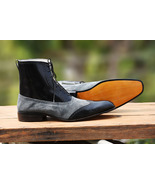 Handmade Ankle High Leather Boots, Black Gray Leather Boots, Men's Forma... - $179.97+