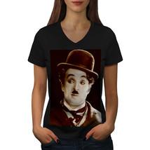 Charlie Chaplin Hat Shirt Actor Star Women V-Neck T-shirt - $9.99
