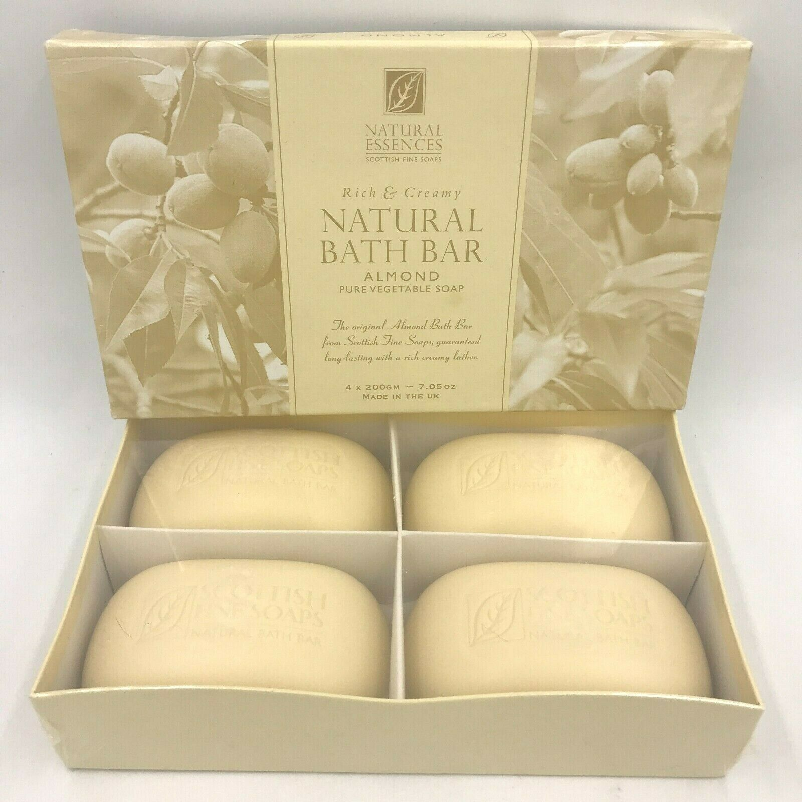 Scottish Fine Soaps Natural Essences Almond Vegetable 4 Bath Bars in Box Sealed