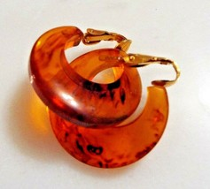 "Vintage Bakelite Round Hoop 1 1/8"" Clip Earrings Root Beer Simichrome Te... - $69.99"