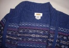 Vintage Talbots 100% Wool Christmas Fair Isle Nordic Cardigan Blue Pink ... - $37.58