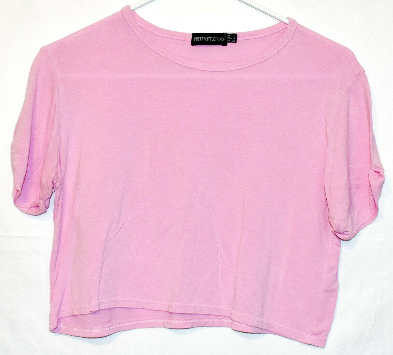 Pretty Little Thing Women's Lavender Pink Purple Crop Top T-Shirt Size 4