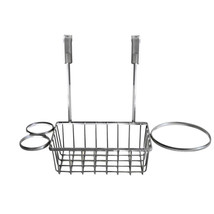Over The Cabinet Chrome Dryer, Hair Brush, Styling Basket Organizer - $15.79