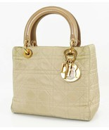 Authentic CHRISTIAN DIOR Beige Quilted Nylon Lady Dior Handbag Purse #38331 - $554.00