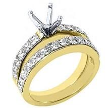 1.9 CARAT WOMENS DIAMOND ENGAGEMENT RING SEMI-MOUNT SET PRINCESS CUT YEL... - £2,981.37 GBP