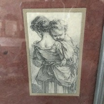 "OLD WORLD 8"" x 8"" Lightweight SKETCH REPRODUCTION Drawing Art MOTHER+BAB... - $26.99"