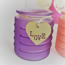 Glass Candleholder for Votive Tea Light Candles, Wood Love tag Purple Red Pink image 3