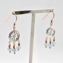 925 Silver Earrings Laminate Rose Gold with aquamarines Faceted image 3