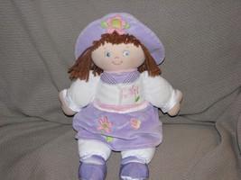 BABY GUND KAYE DOLL 58582 PURPLE LAVENDER FLOWER DRESS HAT BROWN HAIR BL... - $39.59