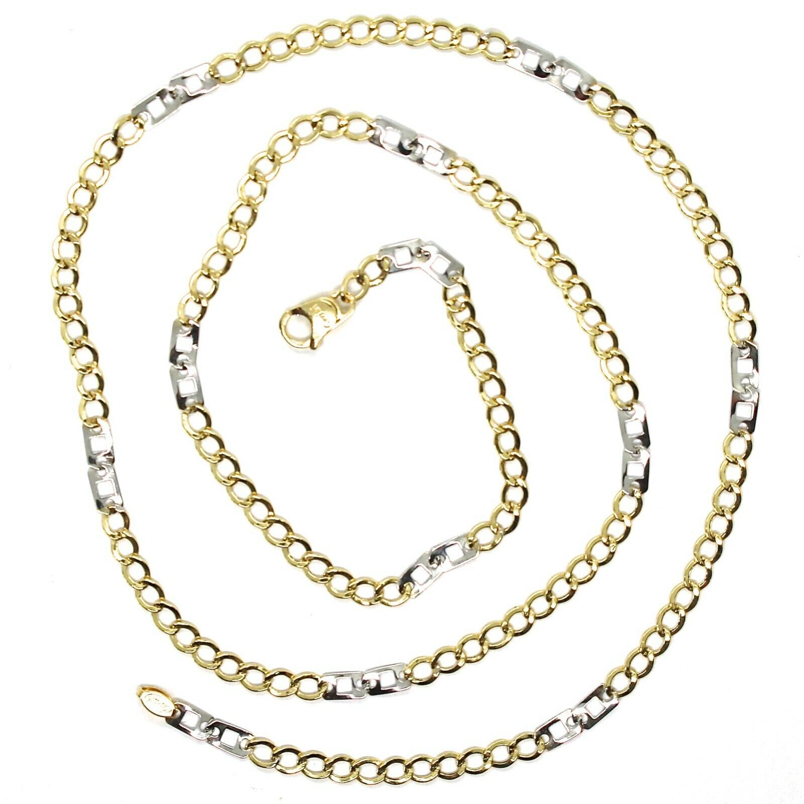 Gold Chain Yellow White 750 18K, 50 cm, Groumette Flat and Squares, 3 MM