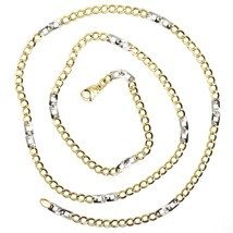 Gold Chain Yellow White 750 18K, 50 cm, Groumette Flat and Squares, 3 MM image 1