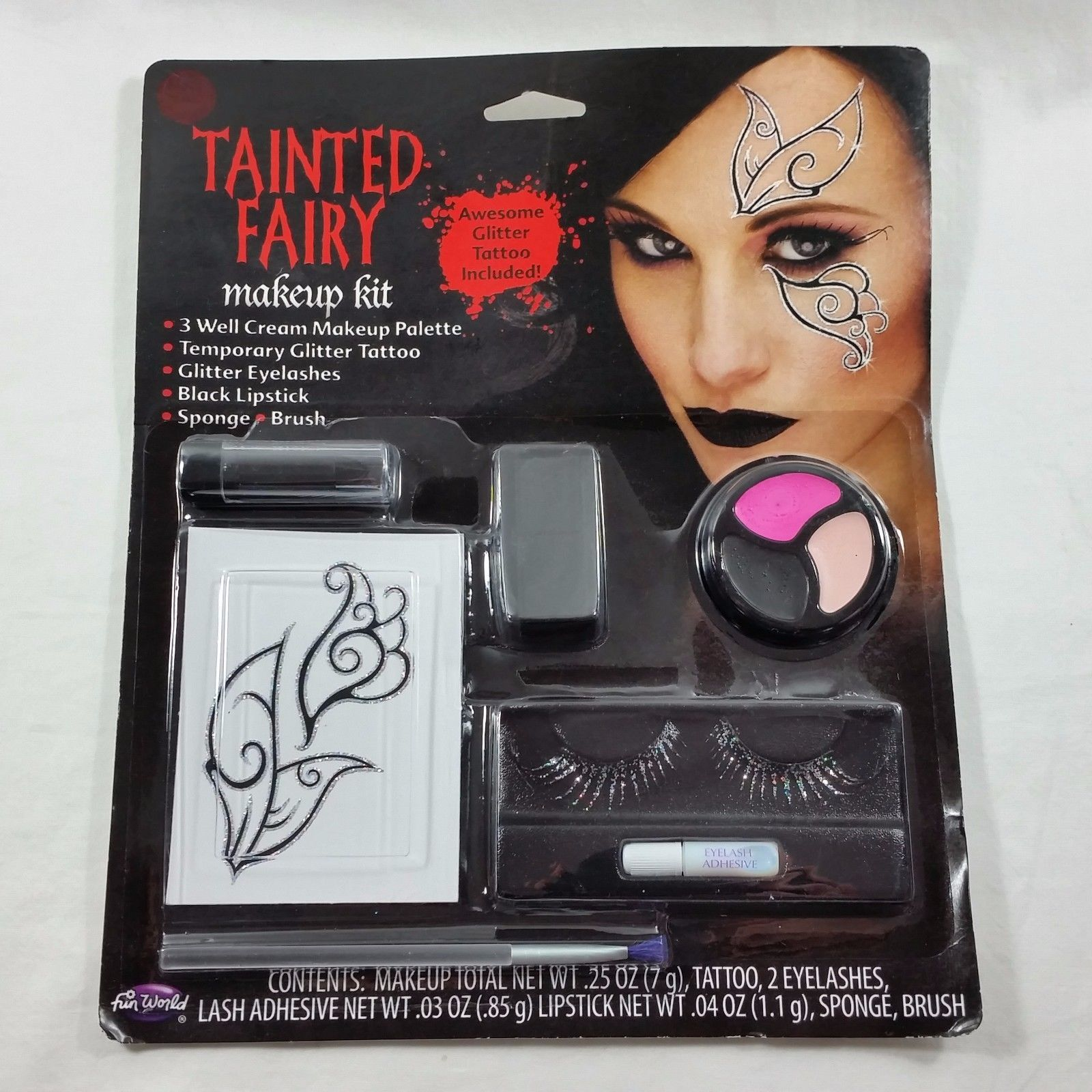 Halloween Tainted Fairy Makeup Kit Glitter Tattoo Eyelashes Lipstick Costume