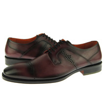 Burnished Cap Toe Maroon Color Magnificiant Leather Oxford Lace Up Men Shoes - $139.90+