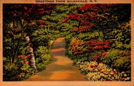 LINEN POSTCARD-GREETINGS FROM ELLENVILLE, NY  BK18 - $2.94