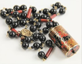 "28"" ESTATE VINTAGE CHINESE EXPORT CLOISONNE ONYX PENDANT NECKLACE STERLI... - $155.00"
