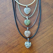 Crystal Heart Necklaces, set of 4, Polished Stone