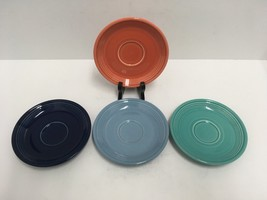 Fiestaware Homer Laughlin China Co. USA (4) Vintage Saucers Assorted Colors GUC - $18.69