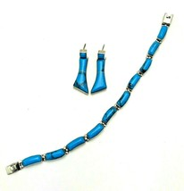 Vintage Sterling Silver 950 Mexico Taxco Turquoise Jewelry Set Bracelet Earrings - $125.73