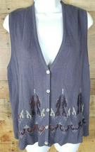 Cardigan Sweater Vest Purple Embroidered Knit Sleeveless Cover Top Size XL - $10.94