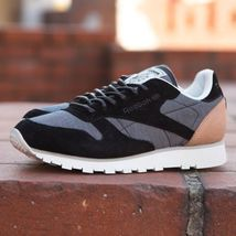 Reebok Black Trainers Fleck Leather Mens Classics rw08Tr