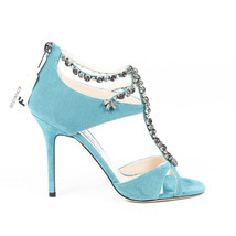 Jimmy Choo Faiza Crystal T-Strap Sandals SZ 38 - $560.00