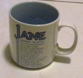 "Jane Name Meaning ""TALENTED"" Poem byn Marci G. Coffee Collectible Name Mug Papel"