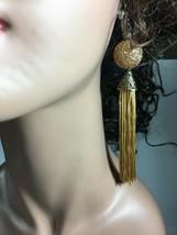 """Fashion Earrings Clip or Pierced 5.5"""" Gold-Tan Fringe Brasstone  Sparkle  - $6.67"""