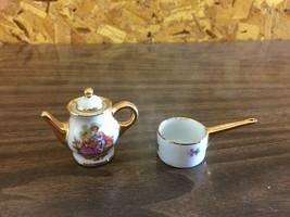 Vtg Limoges France Fragonard Courting Couple Miniature Coffee Pot & Stov... - $38.47