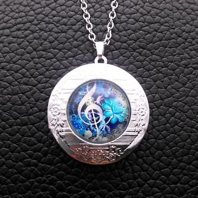 Primary image for MUSIC MAJORS: CLEF CABOCHON LOCKET NECKLACE >>   C/S & H AVAILABLE  (4103)