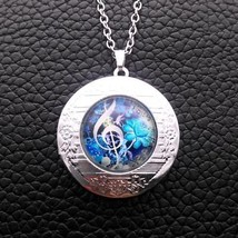 MUSIC MAJORS: CLEF CABOCHON LOCKET NECKLACE >>   C/S & H AVAILABLE  (4103)  - $6.44