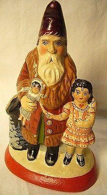 Vaillancourt Folk Art Santa with Good Girl  new Personally signed