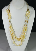 "24"" Vintage Gold Tone & Shells Beads Hand Made Indian Chain Necklace Folk Art  - $18.99"