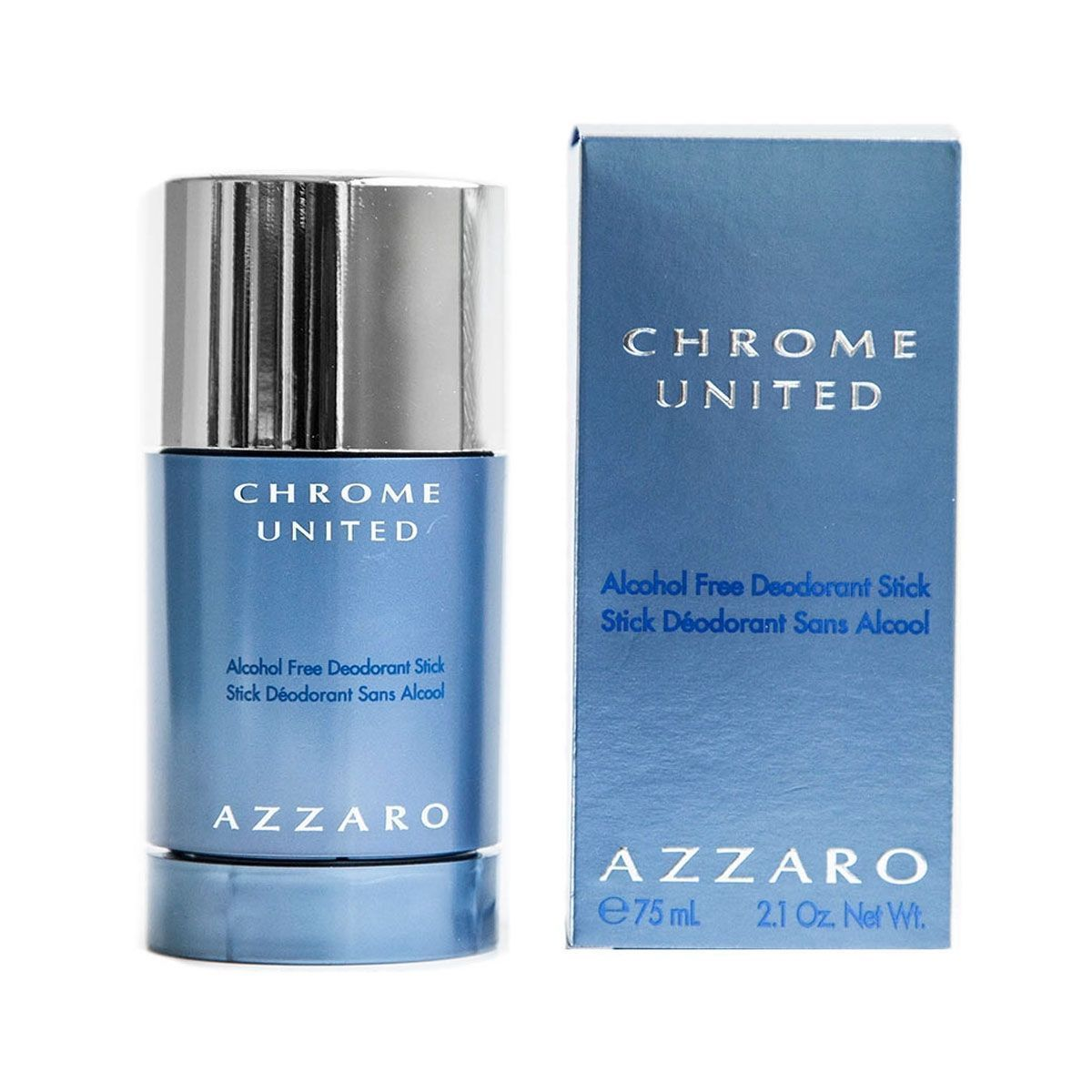 Chrome United by Azzaro Alcohol-Free Deodorant Stick 2.1 oz / 75mL NEW & BOXED
