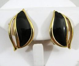 Vintage Signed Monet Gold Tone & Black Enamel Clip On Earrings MOD - $7.87