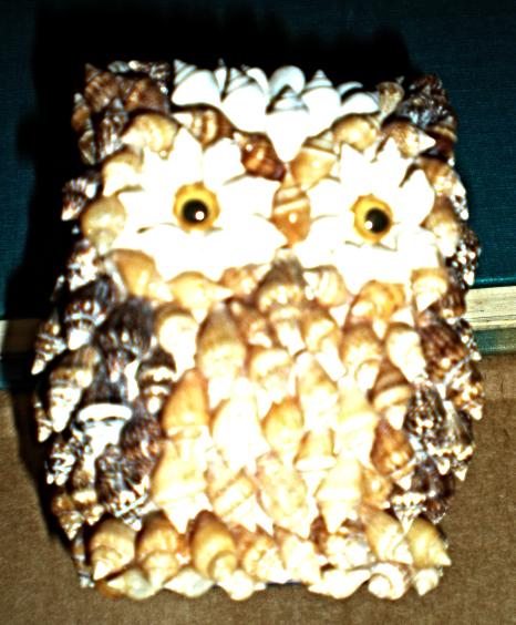 Owl Figurine Made Of Sea Shells