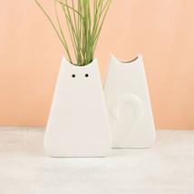 Cat Lady (new) FLAT CAT VASE - WHITE W/ CAT EARS, EYES & TAIL ON BACK - ... - $33.73