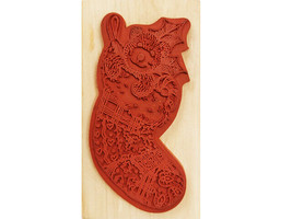 Anita's Christmas Bear in Stocking Rubber Wood Mounted Stamp image 2